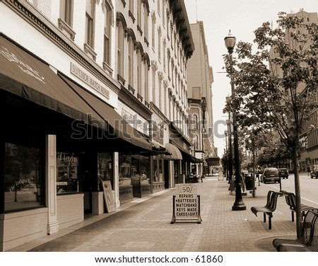 city street sepia - stock photo