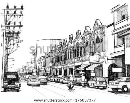 City street: sketchbook - stock photo