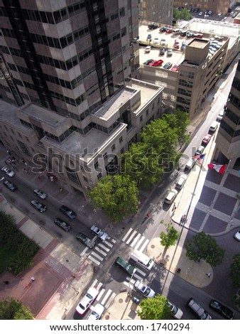 City streets from above. - stock photo