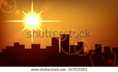 City sunset background. - stock photo