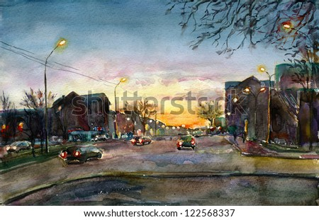 City sunset. Watercolor painting. Evening landscape. Urban street. - stock photo