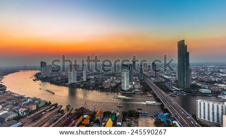 City town at sunset, Bird eyes view, Bangkok, Thailand - stock photo