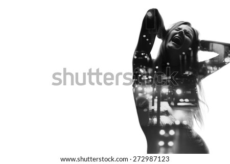 City traffic concept, double exposure female screaming - stock photo