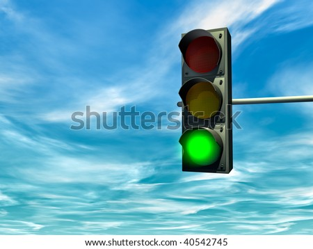 City traffic light with a green signal - stock photo
