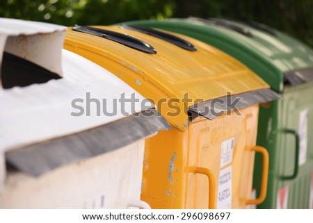 City trash cans - stock photo