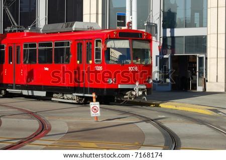 City trolley/tram; San Diego, California - stock photo