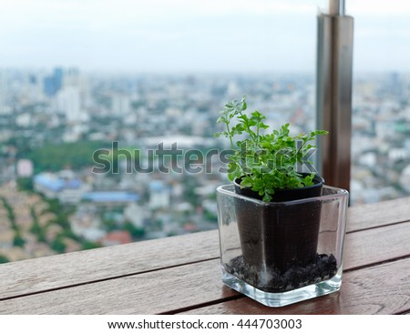 city view at the  rooftop cafe - stock photo
