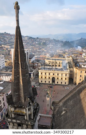 City view from the Cathedral's top, Manizales, Colombia. - stock photo