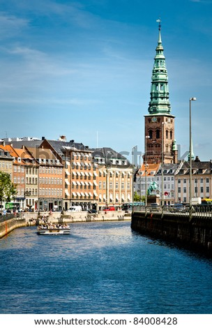 City view from the town center of Copenhagen, Denmark - stock photo