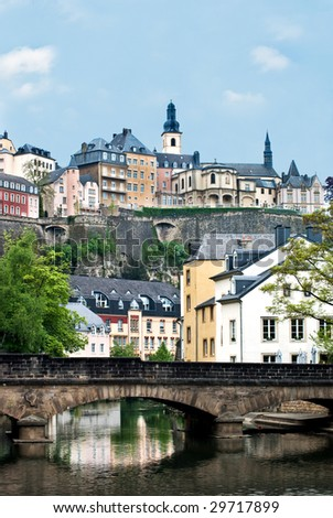 City view of old town Luxembourg - stock photo