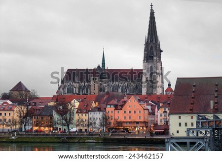 city view of Regensburg, a city in Bavaria in stormy ambiance (Germany) - stock photo