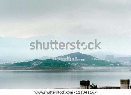 City view Sandouping in China Three Gorges Dam - stock photo