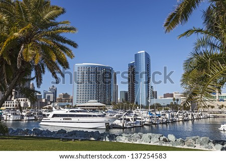 City View with Marina Bay at San Diego, California - stock photo
