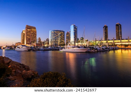 City View with Marina Bay at San Diego, California USA - stock photo