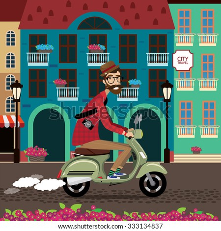 City voyager, man rides a scooter in old city center | raster version - stock photo