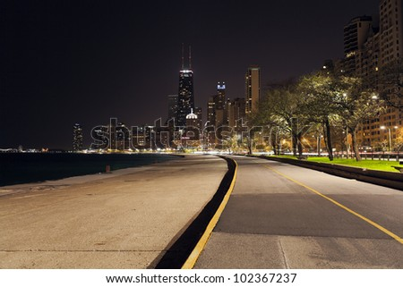 City walkway in the night - stock photo