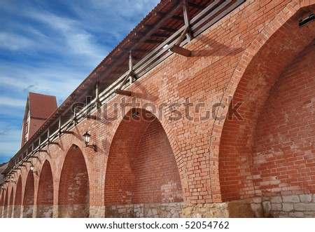 City wall and watchtower in old Riga, Latvia. - stock photo