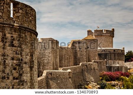 City Walls and Minceta Tower in Dubrovnik, Dalmatia, Croatia - stock photo