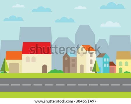 city with beautiful houses. Illustration - stock photo