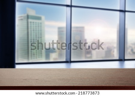 city with brown desk of free space  - stock photo
