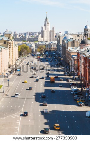 cityscape - above view of Lubyanka Square in historical center of Moscow city in sunny spring day - stock photo