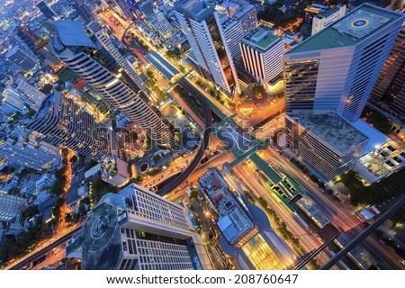 Cityscape abstract at top view of Bangkok - stock photo