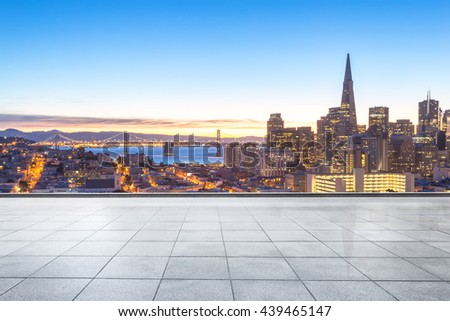 cityscape and skyline o f francisco on view from empty floor - stock photo