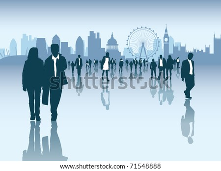 Cityscape and skyline with crowds of business and normal people walking outside - stock photo