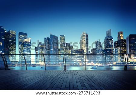 Cityscape Architecture Building Business Metropolis Reflection Concept - stock photo