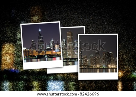 Cityscape at Night Background - stock photo