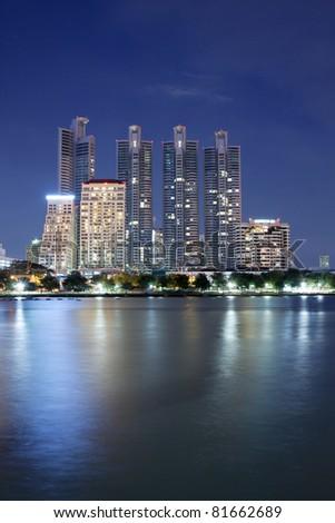 Cityscape at Night, Bangkok, Thailand - stock photo