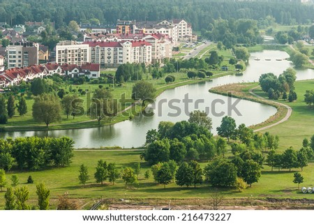Cityscape at sunny day - Bird eye view - stock photo