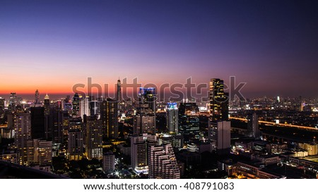 Cityscape at the night, cityscape at the twilight time. - stock photo