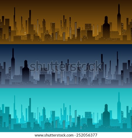 Cityscape backgrounds. View of the city with skyscrapers in the morning, evening and night - stock photo