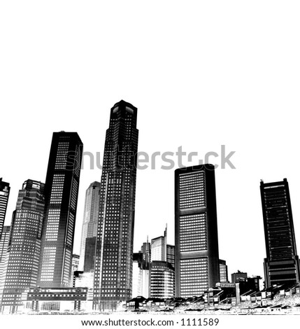 cityscape - black and white - stock photo