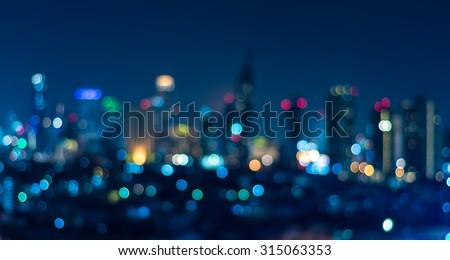 Cityscape bokeh, Blurred Photo, cityscape at twilight time - stock photo