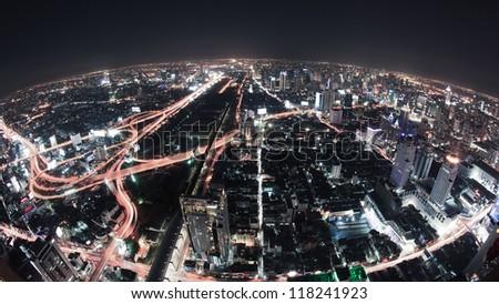 Cityscape night, Bangkok bird eye view - stock photo