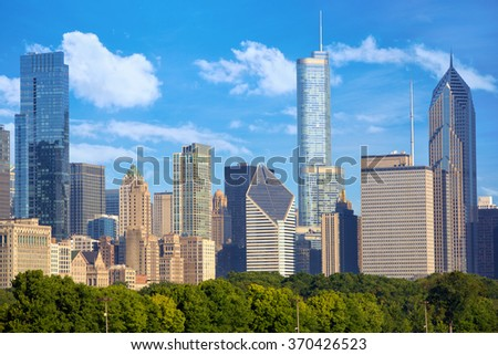 Cityscape of Chicago downtown, United States - stock photo
