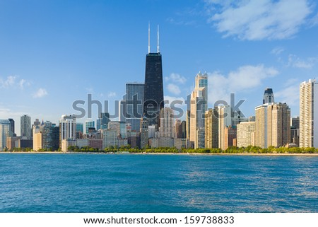 Cityscape of Chicago in a summer day - stock photo