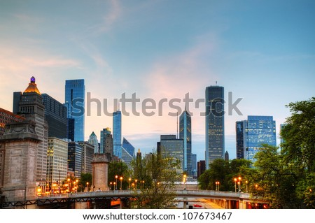 Cityscape of  Chicago in the evening light - stock photo