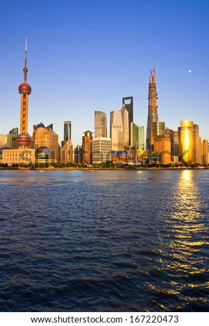 Cityscape of Chinese Shanghai,Shanghai is a International metropolis - stock photo