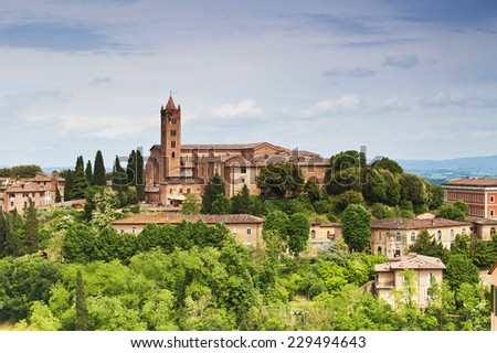 Cityscape of city Siena, Tuscany, Italy - stock photo