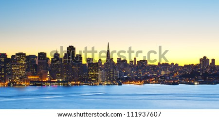 Cityscape of downtown financial district of San Francisco, California, USA - stock photo