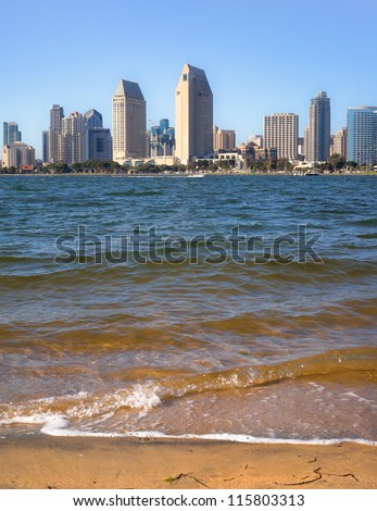 Cityscape of Downtown San Diego and San Diego Bay, San Diego, Southern California - stock photo