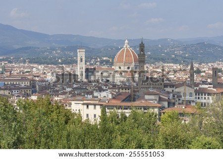 Cityscape of Florence, Italy with the Duomo Cathedral and bell tower. - stock photo