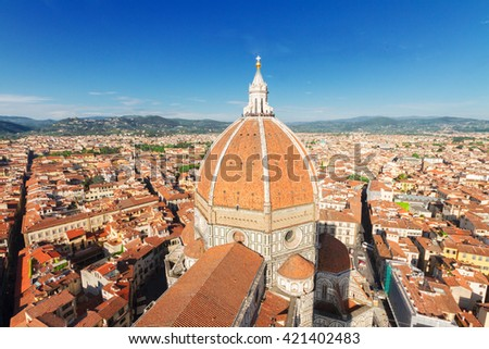 cityscape of Florence - old town with cathedral church Santa Maria del Fiore at sunny day, Florence, Italy - stock photo