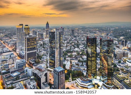 Cityscape of Frankfurt, Germany, the financial center of the country. - stock photo