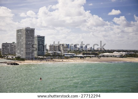 Cityscape of Ft. Lauderdale, Florida showing the beach and the city - stock photo