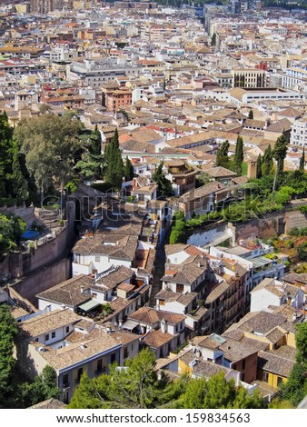 Cityscape of Granada - beautiful city in Andalusia, Spain - stock photo