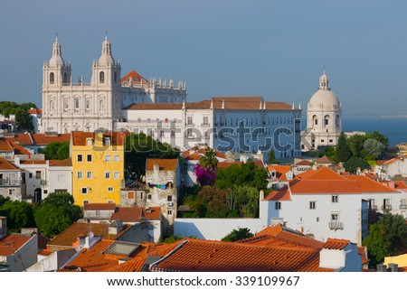 Cityscape of Lisbon in a summer day - stock photo